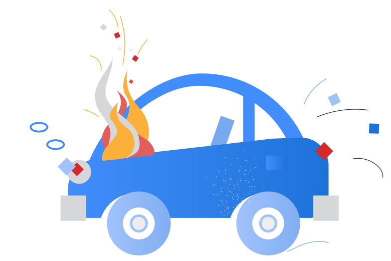 Car on fire Clipart illustration in PNG, SVG