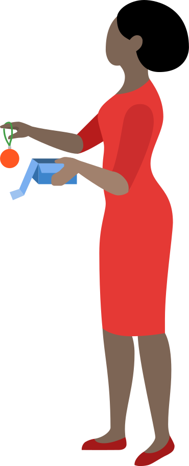 woman with box and christmas ball Clipart illustration in PNG, SVG