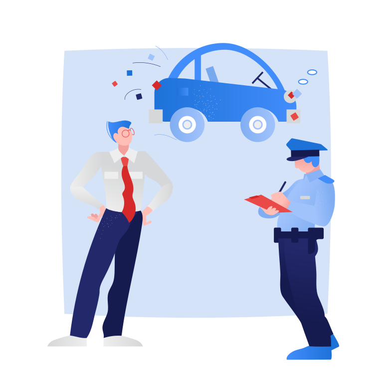 Policeman writes out a traffic ticket Clipart illustration in PNG, SVG