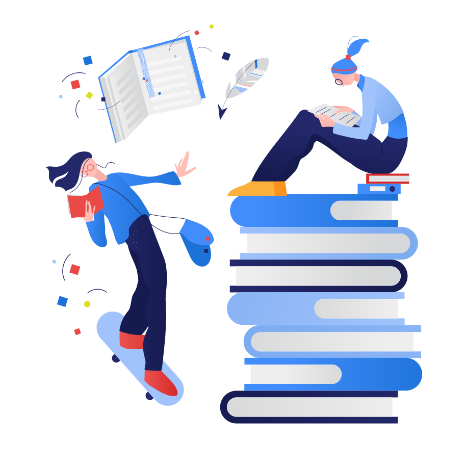 Reading of books Clipart illustration in PNG, SVG