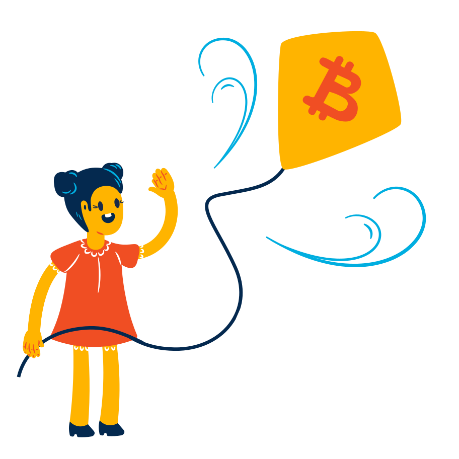 Bitcoin rises up Clipart illustration in PNG, SVG