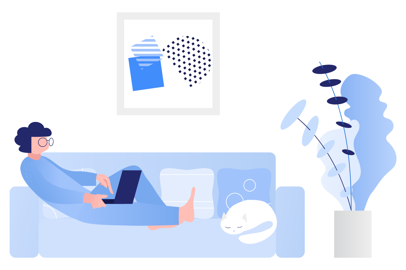 style Remote work from sofa Vector images in PNG and SVG | Icons8 Illustrations