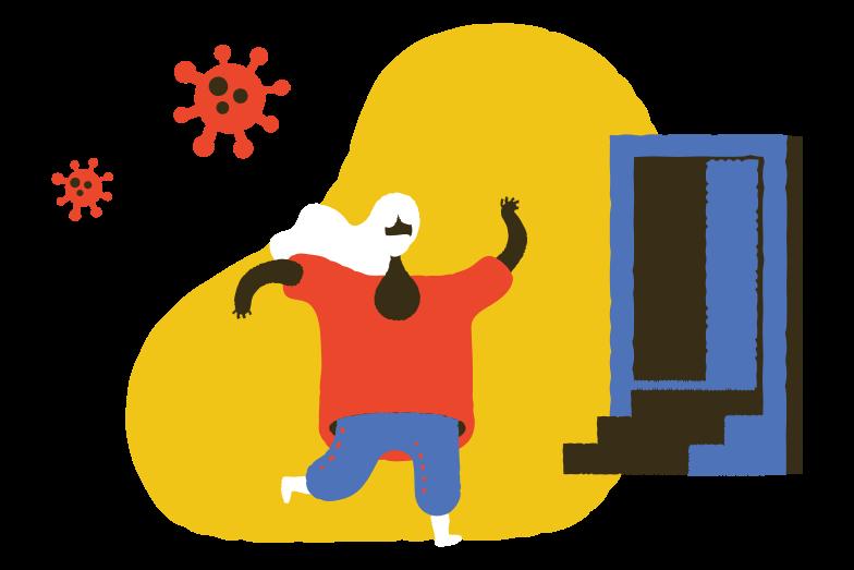 Running from coronavirus Clipart illustration in PNG, SVG