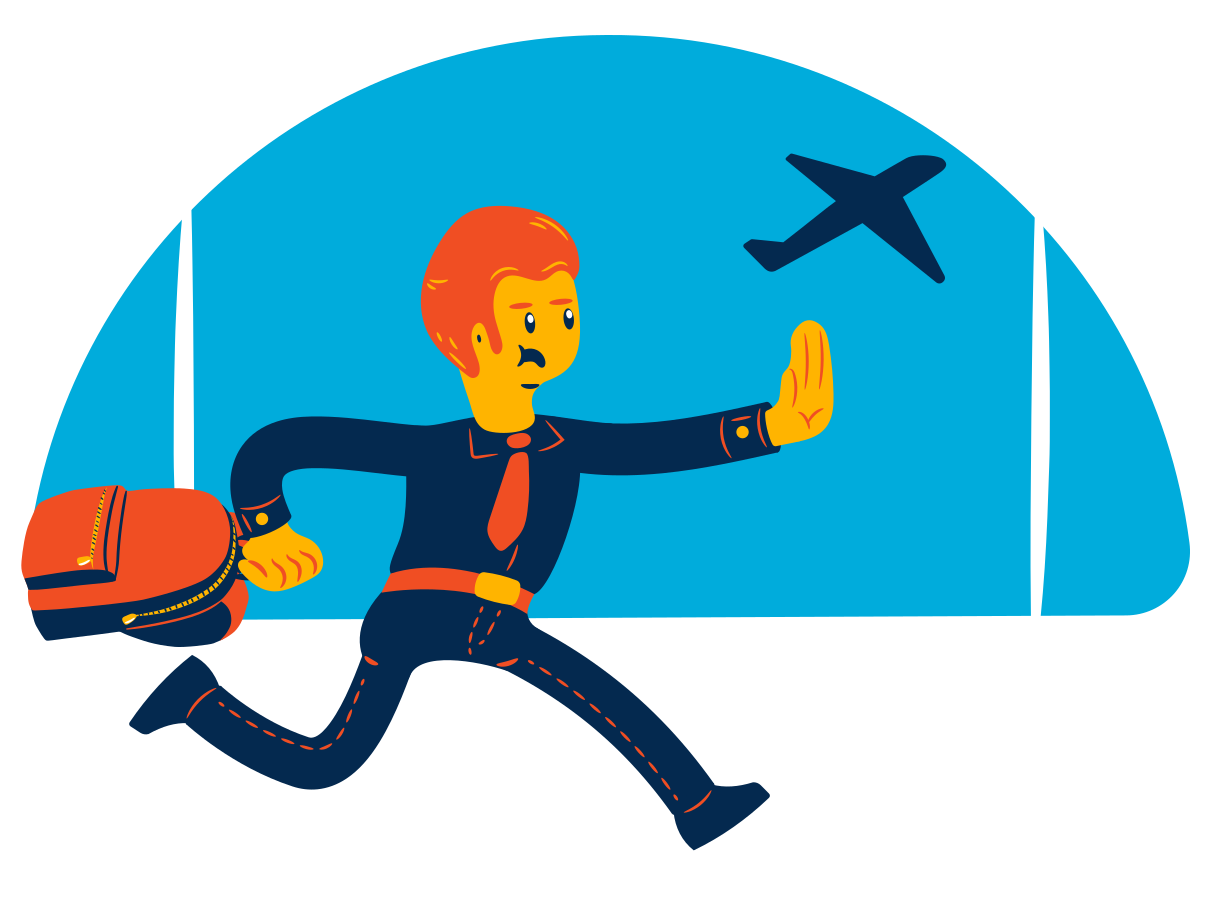 Late arrival on the flight Clipart illustration in PNG, SVG
