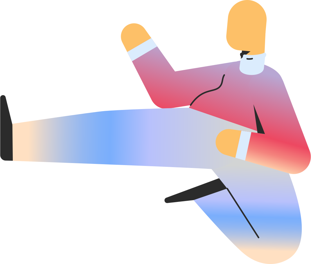 chubby adult jump kick Clipart illustration in PNG, SVG