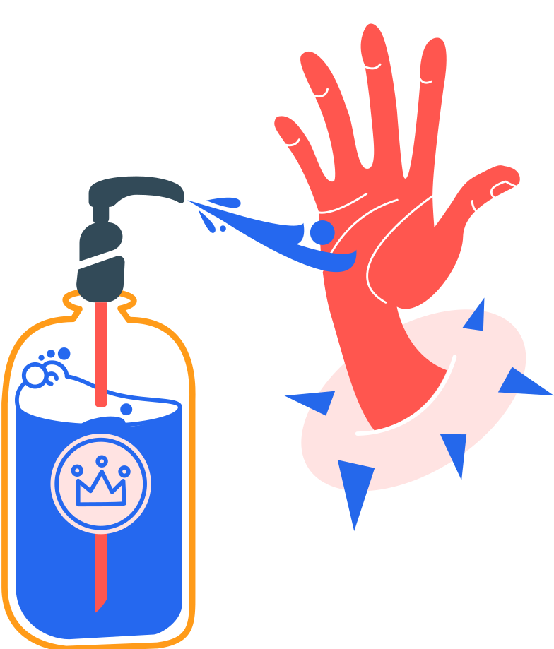antiseptic and right hand without bubbles Clipart illustration in PNG, SVG