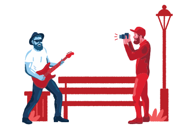 style Shooting street musician images in PNG and SVG | Icons8 Illustrations