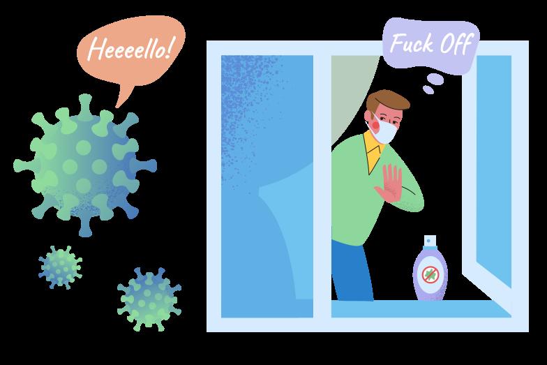 Virus, Fuck Off! Clipart illustration in PNG, SVG