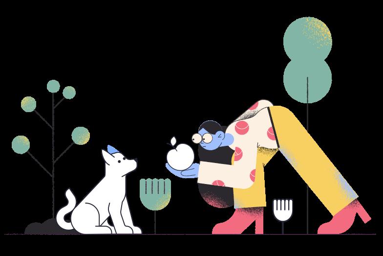 Feeding dog Clipart illustration in PNG, SVG
