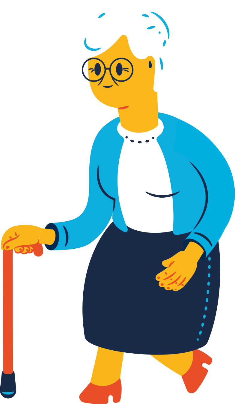 old woman with face walking Clipart illustration in PNG, SVG