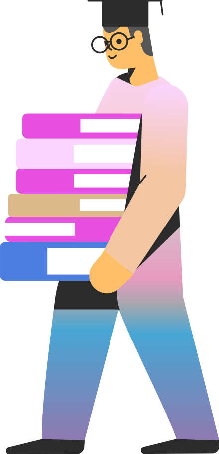 student with books Clipart illustration in PNG, SVG