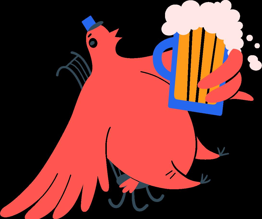 Ilustração de clipart de pássaro carteiro na cadeira com cerveja em PNG e SVG