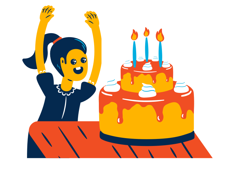 Girl and big birthday cake Clipart illustration in PNG, SVG