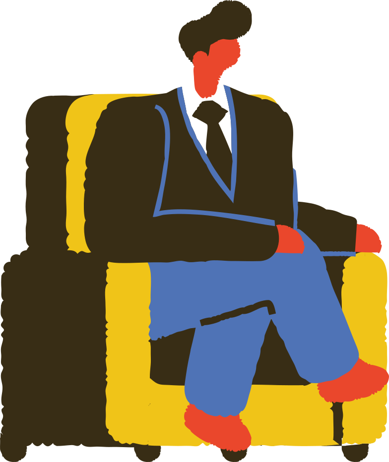 man sitting and talking Clipart illustration in PNG, SVG