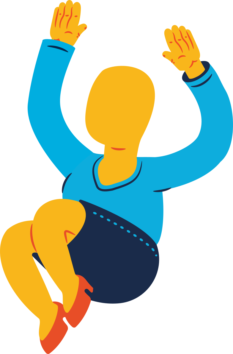 chubby woman jumping Clipart illustration in PNG, SVG