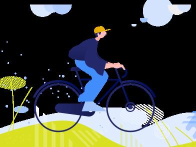 Imágenes de ciclismo alrededor de parques y otras áreas recreativas. estilo  en PNG y SVG | Ilustraciones Icons8