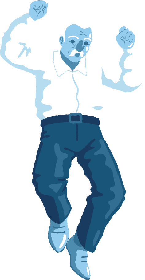 old man jumping front Clipart illustration in PNG, SVG