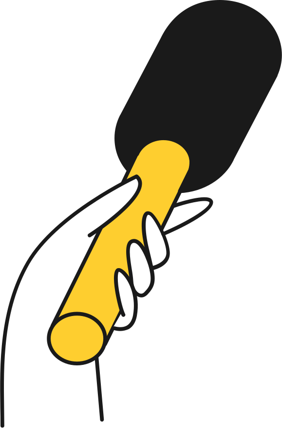 hand with microphone Clipart illustration in PNG, SVG